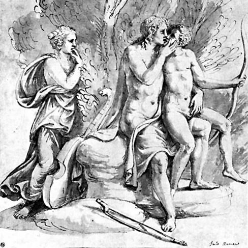 Figure 2. Giulio Romano, Apollo and Cyparissus (c.1523–27). Pen and ink with wash, National Museum, Stockholm