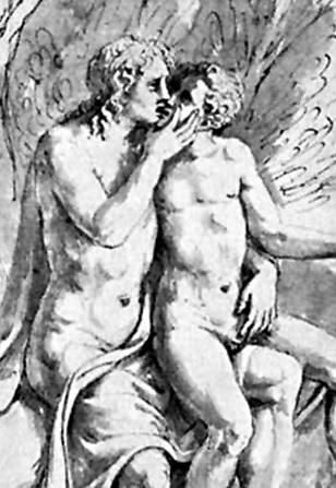 Apollo's hand touching Cyparissus' penis, detail of Apollo and Cyparissus.