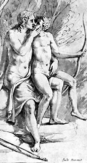 rissus grasping bow, detail of Apollo and Cyparissus