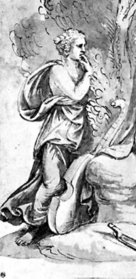 Female voyeur with finger in mouth, detail of Apollo and Cyparissus
