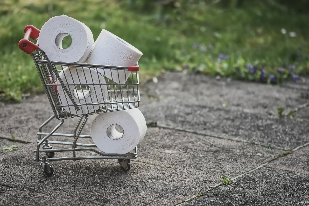 Small shopping trolley with toilet rolls