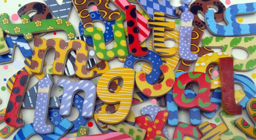 Brightly coloured letters and numbers