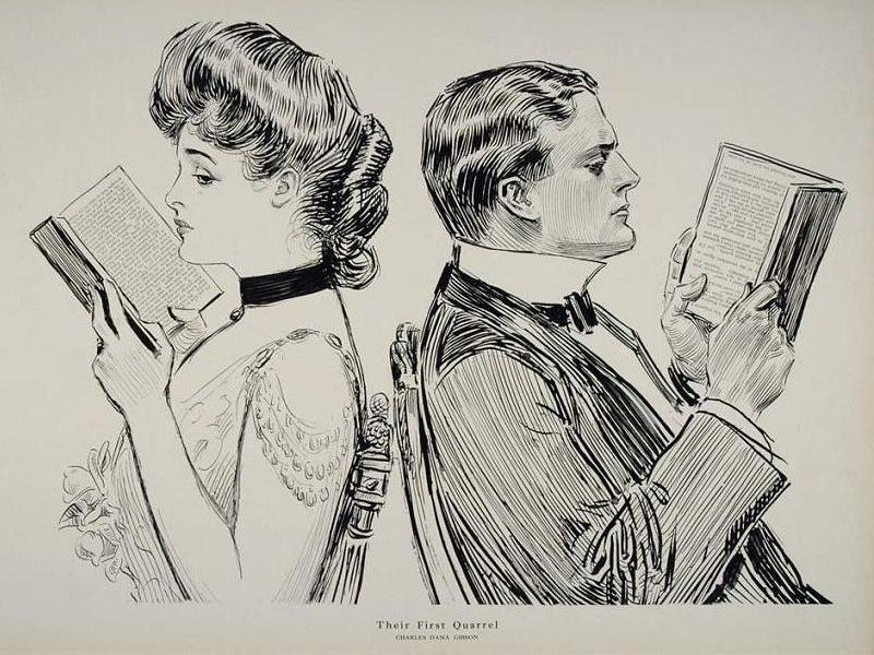 Old cartoon of man and woman reading back to back