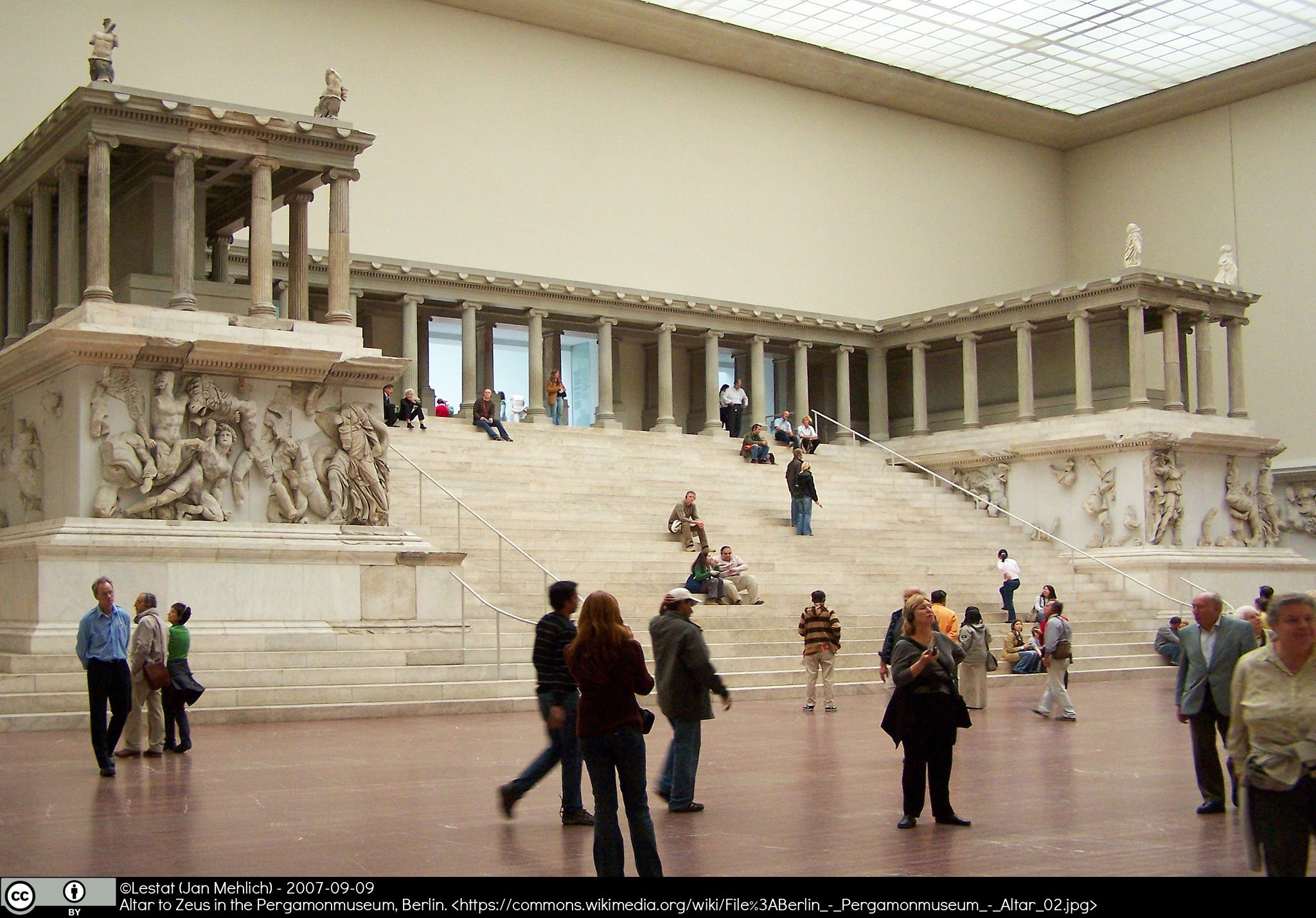 Museum interior with classical sculpture
