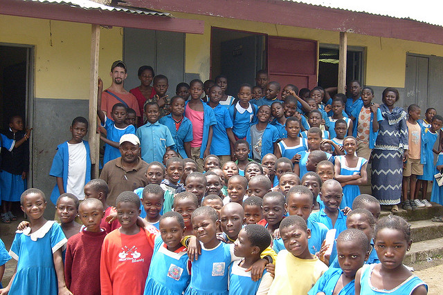 Children at a Cameroon school