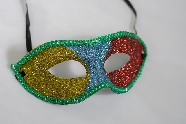 A multicoloured domino actors mask