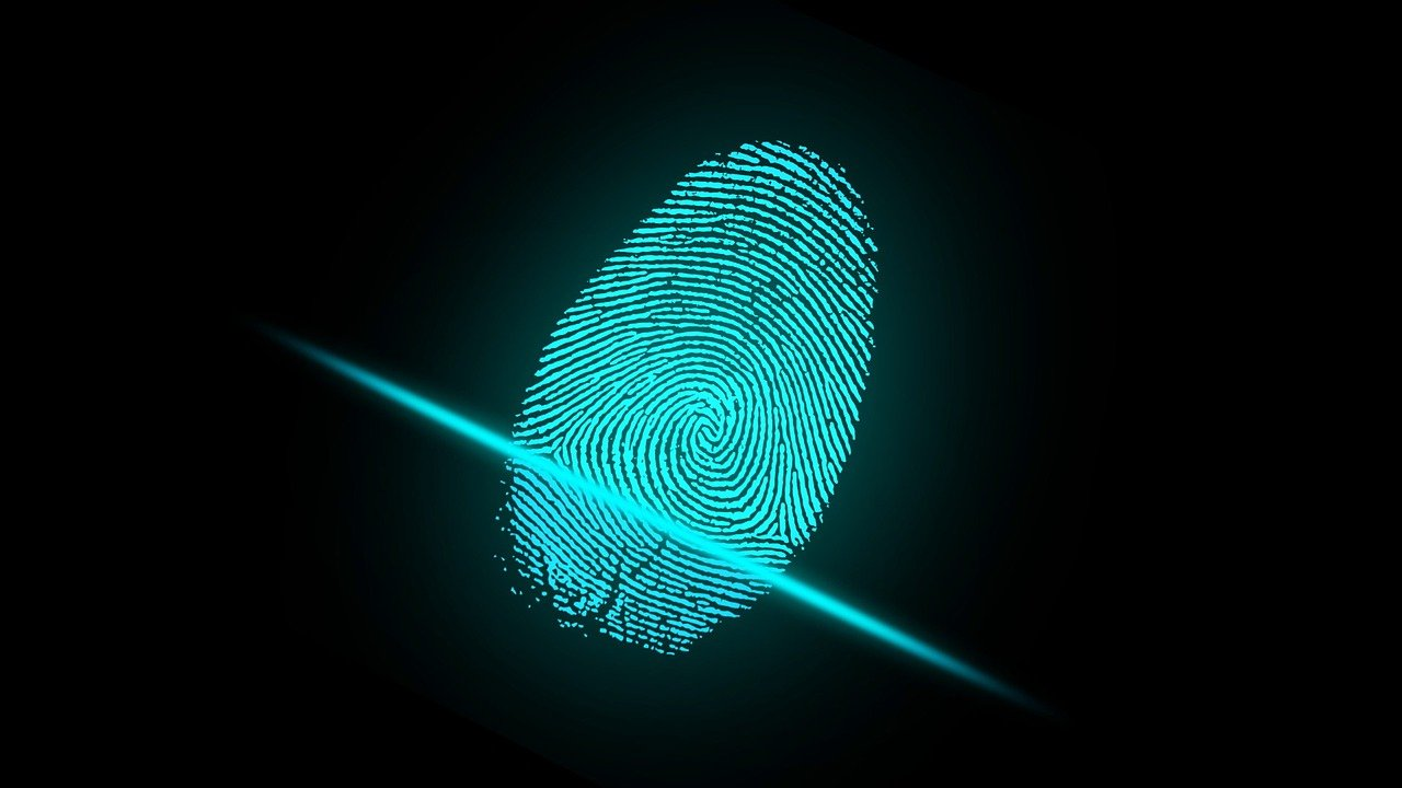 A computer representation of a fingerprint being scanned electronically