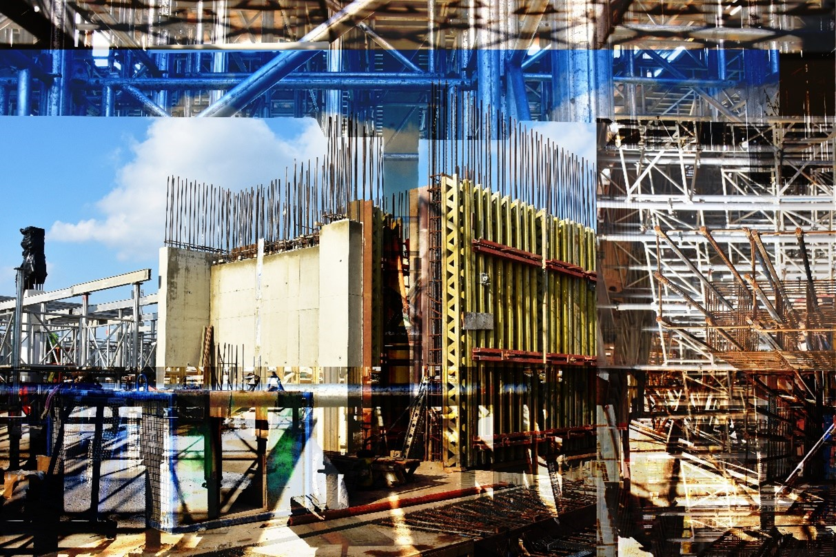 Afterimage 1: A composite image of a university building's foundations being constructed